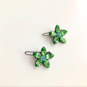 2/$15 ⭐️ Green Crystal Flower Hair Clips Set